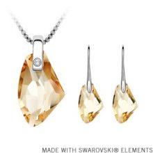 Csepp alakú medálos nyaklánc és fülbevaló szett Swarovski kristállyal, 4 színben