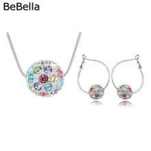 Gömb alakú medállal díszített nyaklánc és fülbevaló szett cseh kristállyal, 5 színben