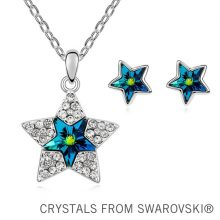Csillaggal díszített nyaklánc és fülbevaló szett Swarovski kristállyal, 3 színben