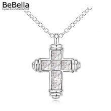 Kereszt alakú medállal díszített nyaklánc Swarovski kristállyal, 6 színben