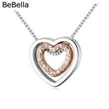 Szív alakú medállal díszített nyaklánc cseh kristállyal, 5 színben