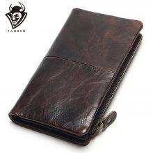 Vintage stílusú, cipzáros férfi pénztárca marhabőrből, barna színben