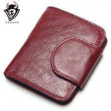 Retro stílusú női pénztárca puha marhabőrből, piros színben