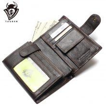 Hagyományos stílusú férfi pénztárca marhabőrből, sötétbarna színben