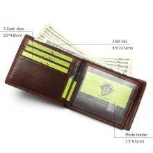 Vintage stílusú, marhabőr férfi pénztárca barna színben