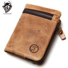 Vintage stílusú férfi pénztárca marhabőrből, dekoratív cipzárral, 2 változatban