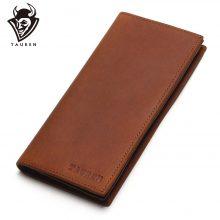Vintage stílusú, hosszúkás férfi pénztárca puha marhabőrből, barna színben