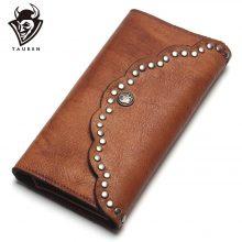 Vintage stílusú, patentos női pénztárca marhabőrből, 2 színben