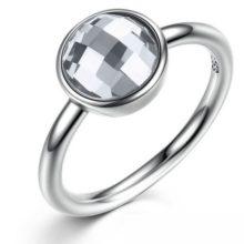 Kerek köves ezüst gyűrű, Fehér, 8 (Pandora stílus)