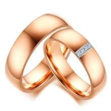 Férfi jegygyűrű, karikagyűrű, rozsdamentes acél, arany színű, 12-es méret