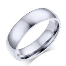 Férfi jegygyűrű, karikagyűrű, klasszikus stílusú, rozsdamentes acél, ezüst színű, 12-es méret