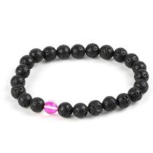 Meditációs karkötő fekete lávakővel és rózsaszín holdkővel