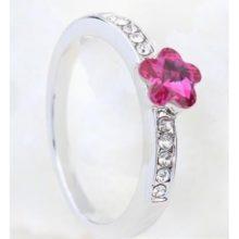 Virág alakú gyűrű, Fukszia, Swarovski kristállyal díszített, 5,5