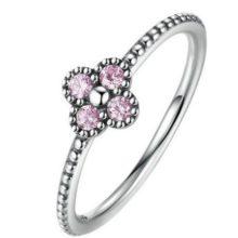 Apró virágos ezüst gyűrű, Pink, 8 (Pandora stílus)