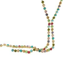 Hosszú köves nyaklánc, Multicolor, Swarovski köves