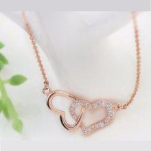 Egymásba fonódó dupla szív nyaklánc, Rosegold, rózsaarany