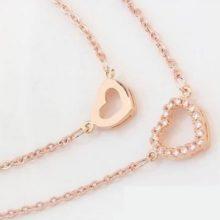 Dupla láncos szív medálos nyaklánc, Rosegold, rózsaarany
