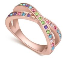 Egyedi karika gyűrű, Multicolor, 8,5