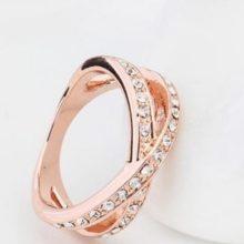 Egyedi karika gyűrű, Kristály, 6,5