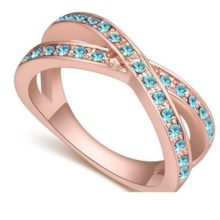Egyedi karika gyűrű, Aquamarine, 8,5