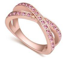 Egyedi karika gyűrű, Világos Rózsaszín, 8,5