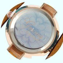 Angyalszárnyas bőr női karkötő-óra, kávébarna