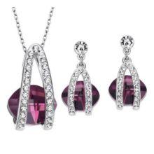 Köves ékszer szett, Austria Crystal, cyclamen, Swarovski kristállyal díszített