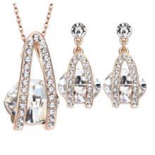 Köves ékszer szett, Austria Crystal, Fehér, Swarovski kristállyal díszített