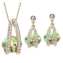 Köves ékszer szett, Austria Crystal, Zöld, Swarovski kristállyal díszített
