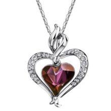 Dupla szív nyaklánc, elegáns, ausztria kristály