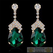 Ezüstözött, csepp alakú, kristályokkal díszített fülbevaló, zöld