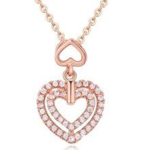Dupla szív alakú nyaklánc, Rosegold, rózsaarany