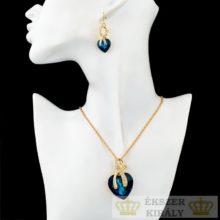 Aranyozott, szív alakú fülbevaló és nyaklánc szett, kék