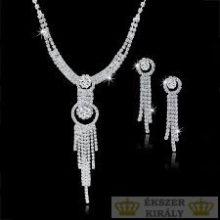 Karikás fülbevaló és nyaklánc szett, ezüst színű