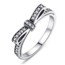 Ezüst gyűrű, masni motívummal, 9-es méret (Pandora stílus)