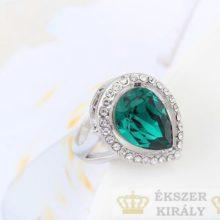 Csepp alakú gyűrű, Zöld, Swarovski köves, 7,5
