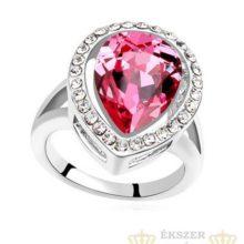 Csepp alakú gyűrű, Rózsaszín, Swarovski köves, 7,5