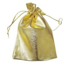 Kézzel készített arany színű zsinóros ékszerzsák 9×12 cm
