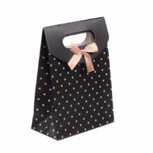 Fekete ajándék táska arany pöttyökkel, tépőzáras, karton, masival