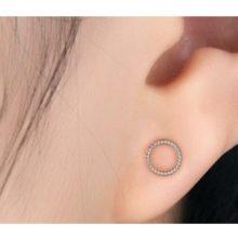 Ezüst karika bedugós fülbevaló (Pandora stílus)