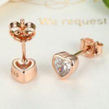 Ezüst fülbevaló, szív alakú, rózsaszín (Pandora stílus)
