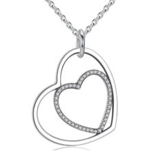 Szívben szív ezüst nyaklánc (Pandora stílus)