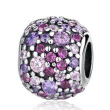 Ezüst gyöngy charm színes kristállyal –  Pandora stílus
