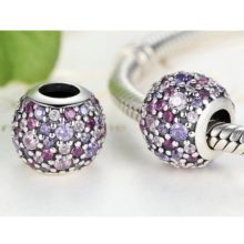 Ezüst gyöngy charm színes kristállyal