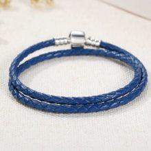 Fonott karkötő, bőr, kék, ezüst kapoccsal, 40 cm