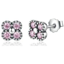 Ezüst, strasszos virág fülbevaló, rózsaszín (Pandora stílus)