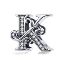 Ezüst K betű charm cirkónium kristállyal
