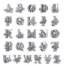 Ezüst N betű charm cirkónium kristállyal