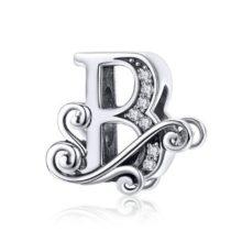 Ezüst B betű charm cirkónium kristállyal –  Pandora stílus