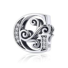 Ezüst G betű charm cirkónium kristállyal –  Pandora stílus